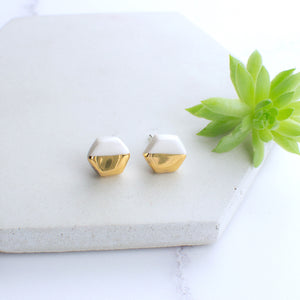 White Hexagon Ceramic Earrings with Sterling Silver backs