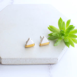 White Triangle Ceramic Earrings with Sterling Silver backs