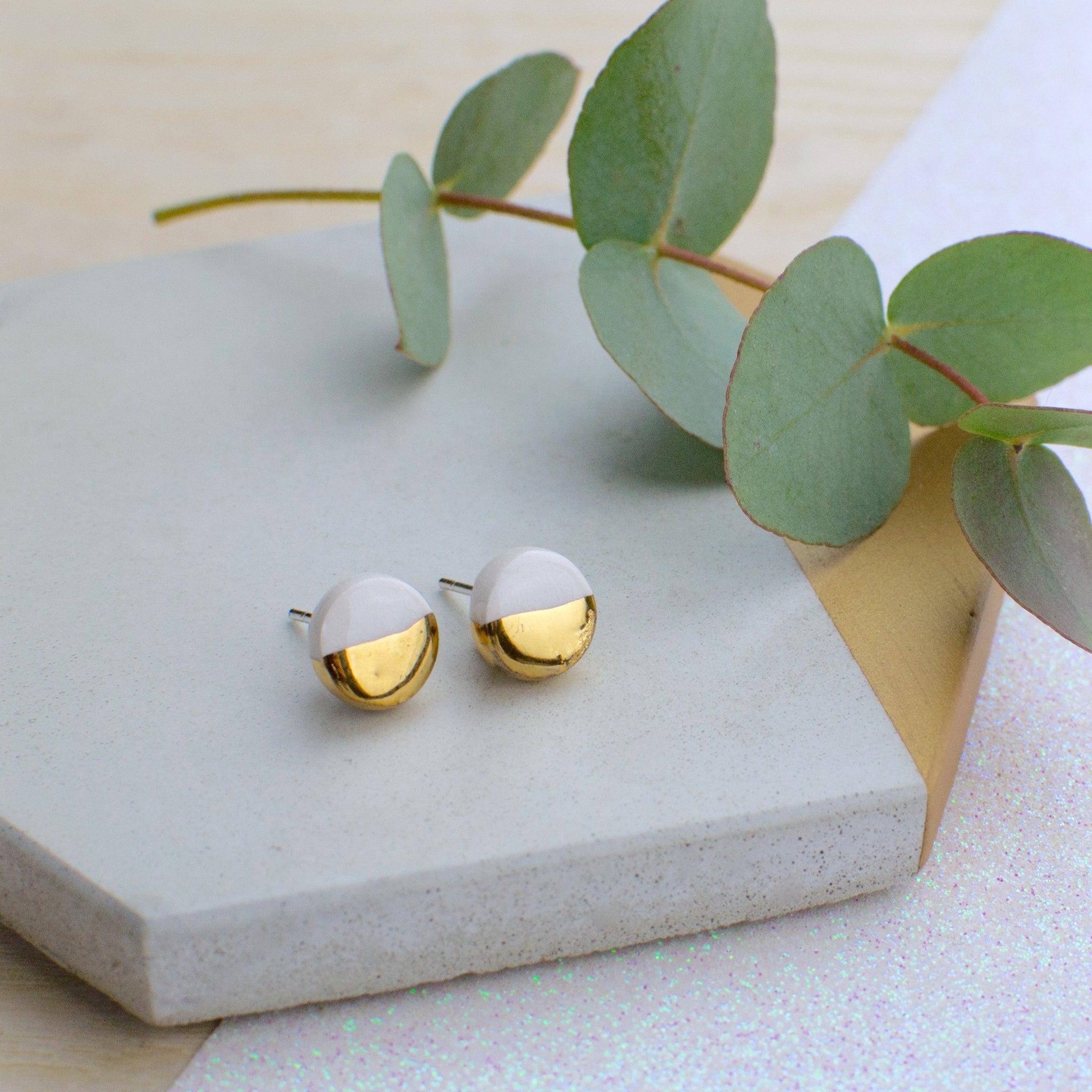 White Circle Ceramic Earrings with Sterling Silver backs