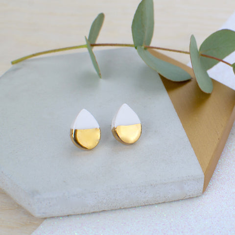 White Teardrop Ceramic Earrings with Sterling Silver backs
