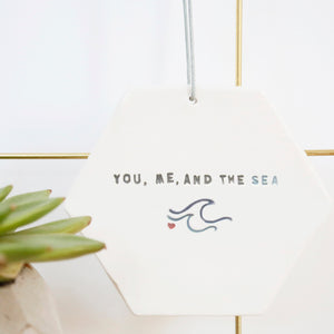 You, Me and the Sea Hexagon hanging decoration