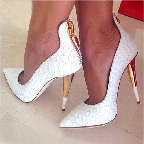 White Embossed Leather Pointed Toe Pumps – Sansa Costa Shoes