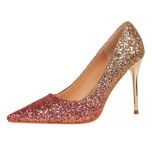 444458cdb30d Women Pumps Sexy Glittery Leather Pointed Toe