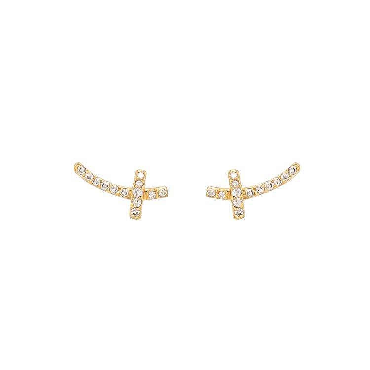 Tiny branch-like studs that follow the shape of the ear encrusted with diamonds.  Size: 0.54 cm X 1.2 cm, > 1 g Stones: White Diamonds; 0.72 ctw. Metal: Black Rhodium-Plated Sterling Silver or 18k Yellow Gold Made in New York City from ethically-sourced materials. By Dana Bronfman