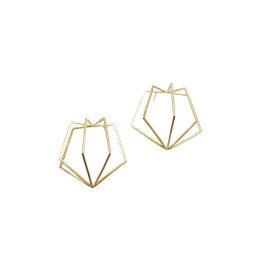 18k yellow gold pentagon cage earrings are the perfect accessory to make a modern, elegant statement. Pairs well with Meg C's Pentagon Bracelet!   Size: 1.5