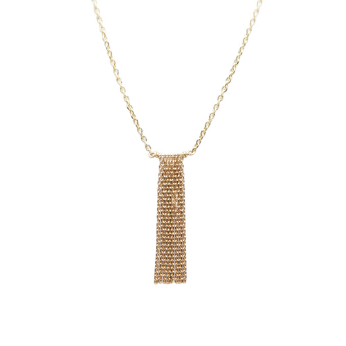 Sparkly diamond cut cable chain fringe necklace in 14k gold.   Size: 1