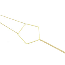 "18k yellow gold pentagon bracelet on 18k yellow gold double cable chains.   Size: 7"" in length; Pentagon: 1.5"" wide Metal: 18k Yellow Gold Handmade by Meg C"