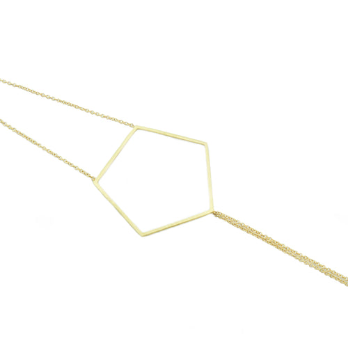 18k yellow gold pentagon bracelet on 18k yellow gold double cable chains.   Size: 7