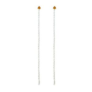 Sophisticated and delicate, these chain jackets are perfect for sprucing up your favorite pair of studs. Available in various lengths and metals.  Image shows them worn with Meg C's Rectangular Bar Earrings and Orange Sapphire studs.  Size: Varies Metal: Sterling Silver, Yellow Gold, or Rose Gold Handmade by Meg C