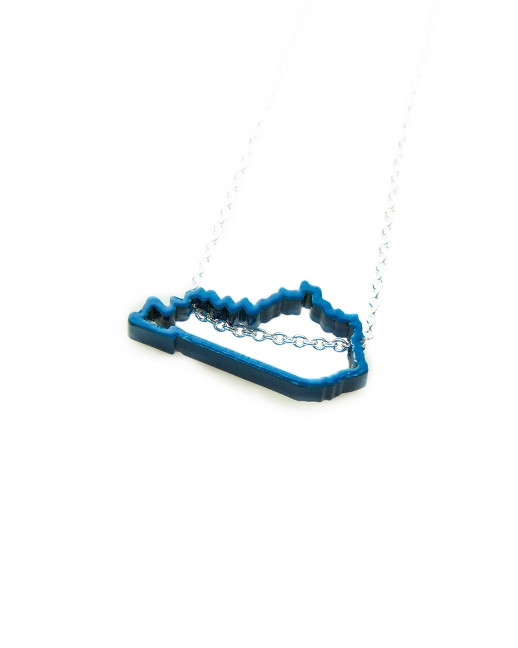 Show your Kentucky state pride with this blue, powder-coated Kentucky outline necklace! Great paired with Meg C's Blue Kentucky State Pin.  Size: 1