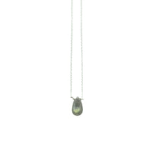 "Simple and perfect for everyday. Meg C's briolette necklaces come in a variety of colored gemstones.  Size: 16"" Sterling Silver Cable Chain, available in 18"" per request Stone: Variety of Gemstones  Metal: Sterling Silver Handmade by Meg C"