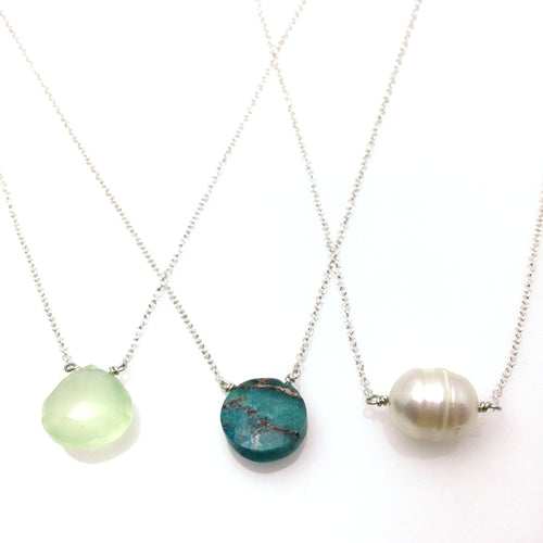 Simple and perfect for everyday. Meg C's briolette necklaces come in a variety of colored gemstones.  Size: 16