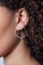 "Large Pentagon Earrings in 14k white, yellow, or rose gold.   Size: 1.5"" wide Style: Button Metal: 14k White, Yellow, or Rose Gold   Handmade by Meg C"