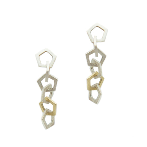 Mini pentagon drop earrings in sterling silver with one 18k yellow gold link, on 14k white gold posts.   Size: 1.5