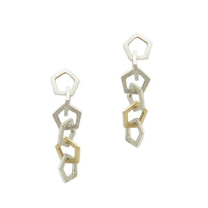 "Mini pentagon drop earrings in sterling silver with one 18k yellow gold link, on 14k white gold posts.   Size: 1.5"" drop; Pentagons: 10mm wide Metal: Sterling Silver; 18k Yellow Gold; 14k White Gold Handmade by Meg C"
