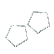 "Geometric pentagons with diamonds, 1.2 ctw, bead set in platinum.   Size: 1.5"" width Style: Button; Locking Backs Stone: 1.2 ctw Diamonds Metal: Platinum Handmade by Meg C"
