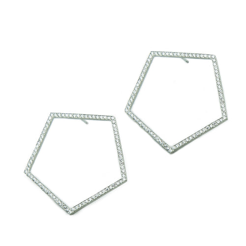 Geometric pentagons with diamonds, 1.2 ctw, bead set in platinum.   Size: 1.5