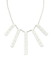 "Clean and sleek, sterling silver and diamond bar statement necklace.   Size: Bars vary from 40mm-60mm long; 8mm width; 18"" Sterling Silver Chain Stones: 24 0.48 ctw diamonds  Metal: Sterling Silver  Handmade by Meg C"