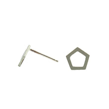 Tiny Pentagon studs in 14k white, yellow, or rose gold.   Size: 10mm width Style: Stud Metal: 14k White Gold, Yellow Gold, or Rose Gold  Handmade by Meg C