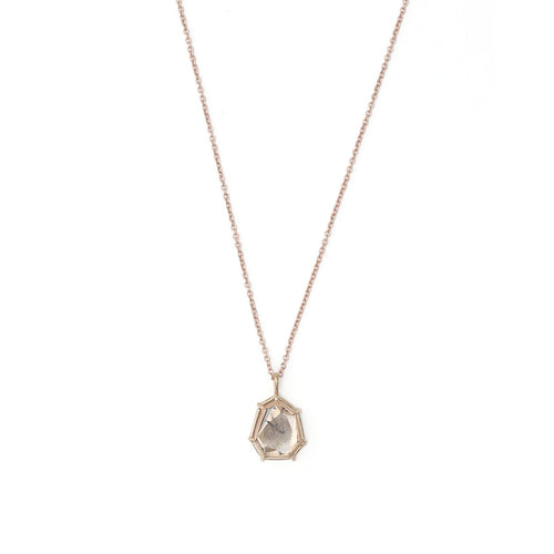 A naturally mottled 0.45ct champagne diamond slice in a signature setting, on an 18k chain with a handmade clasp.   Stone: 0.45ct Champagne Diamond Metal: 18k Rose Gold  Handmade by Tura Sugden