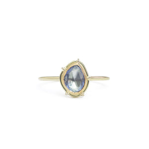 One-of-a-kind, pear shaped rose cut blue sapphire in a signature setting, on a shouldered lightweight band.   Size: 5.75 (can be resized) Stone: 0.64ct Rose Cut Sapphire  Metal: 18k Yellow Gold and 22k Yellow Gold Handmade by Tura Sugden