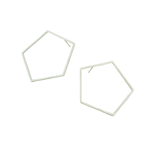 Large Pentagon Earrings in 14k white, yellow, or rose gold.   Size: 1.5