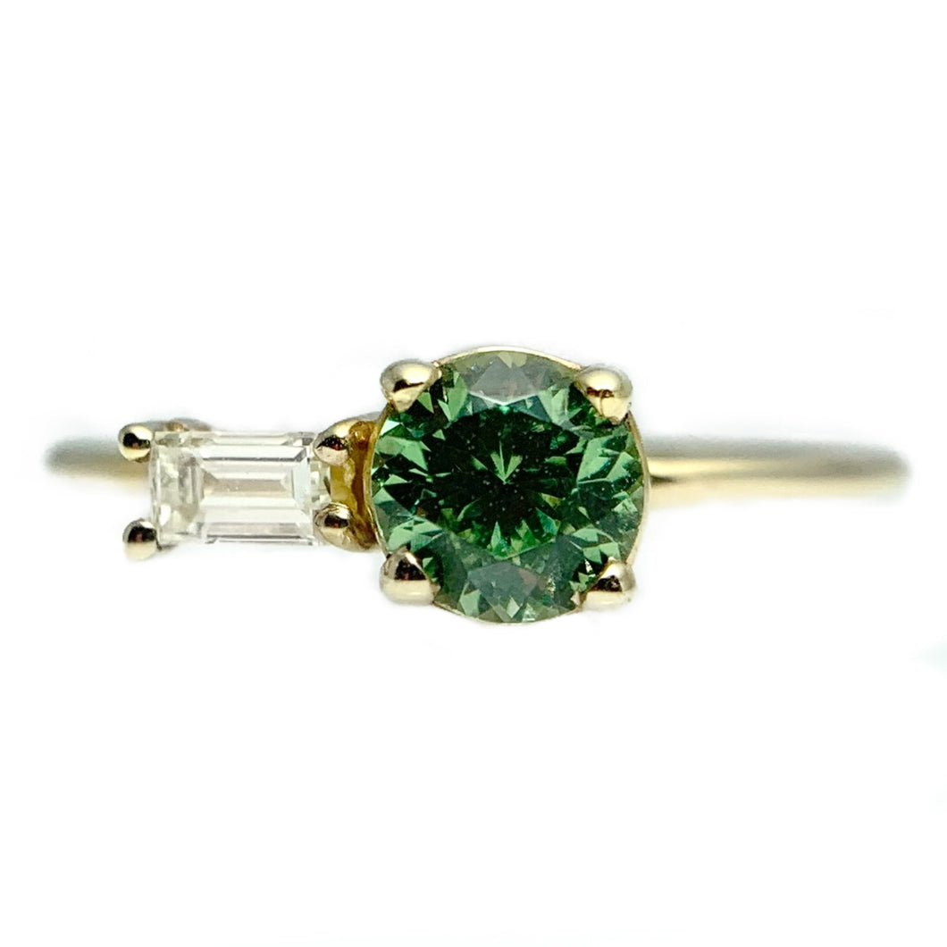 Mint Garnet and Diamond Ring
