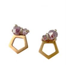 Purple Diamond Mini Pentagon Studs
