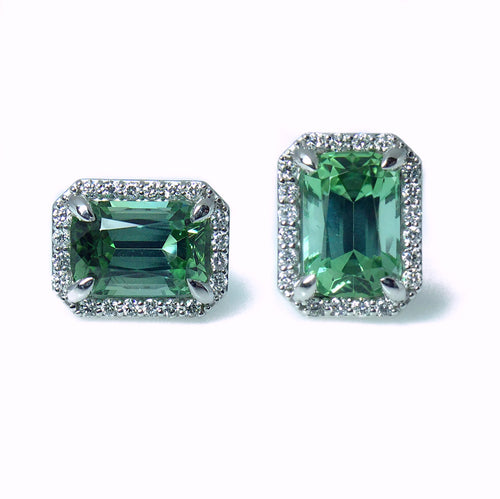 Tourmaline and Diamond Studs