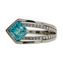 Blue Zircon Offset Ring