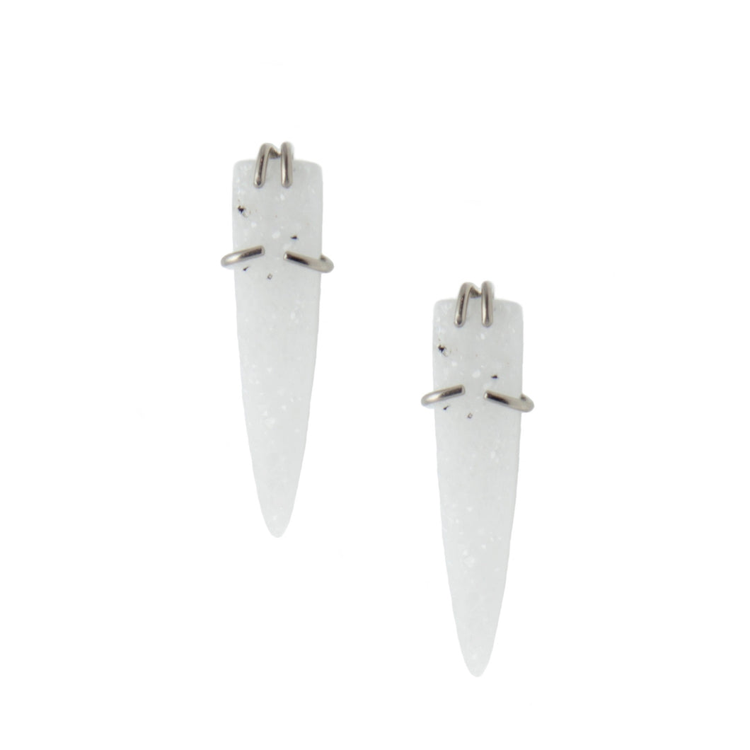 White Druzy Bullet Earrings