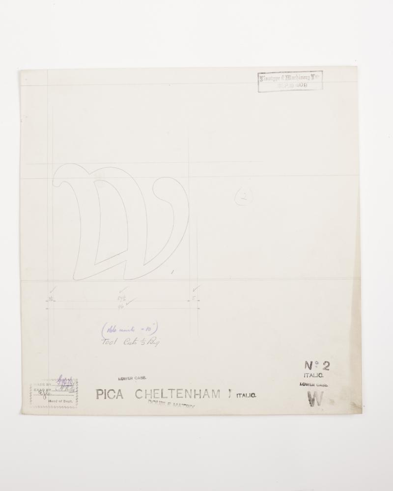 W (Pica Cheltenham Italic) Original Type Drawing