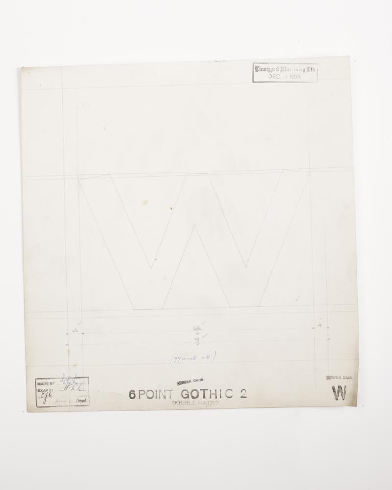 w (Gothic 2) Original Type Drawing