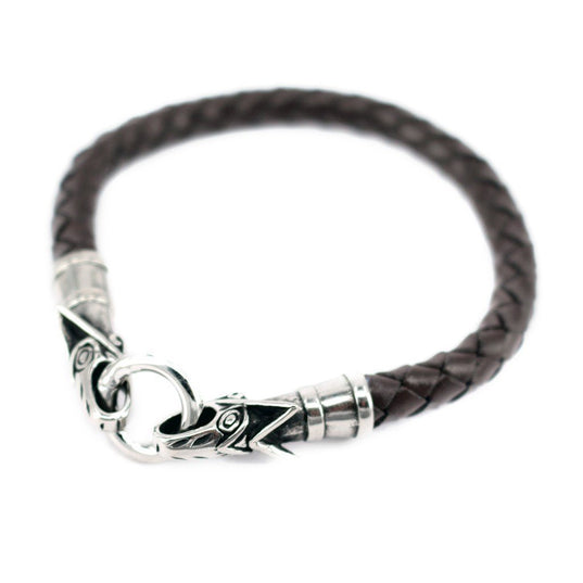Viking Jewelry - Wolf Leather Bracelet, Brown - Grimfrost.com