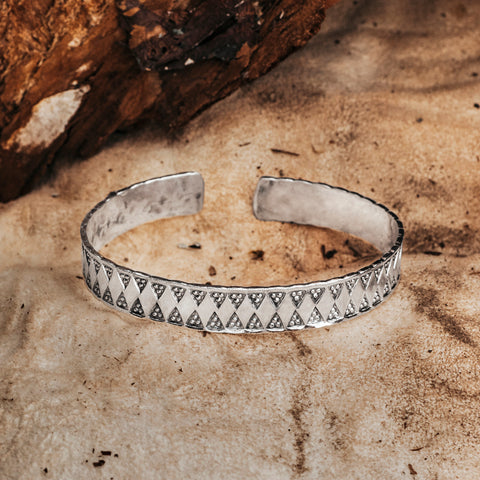 Gestanztes Wiking Armband, Silber