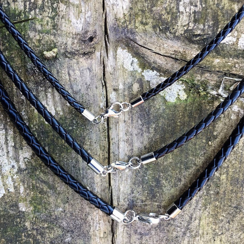 Viking Neck Chains - Braided Leather Cord, Black - Grimfrost.com