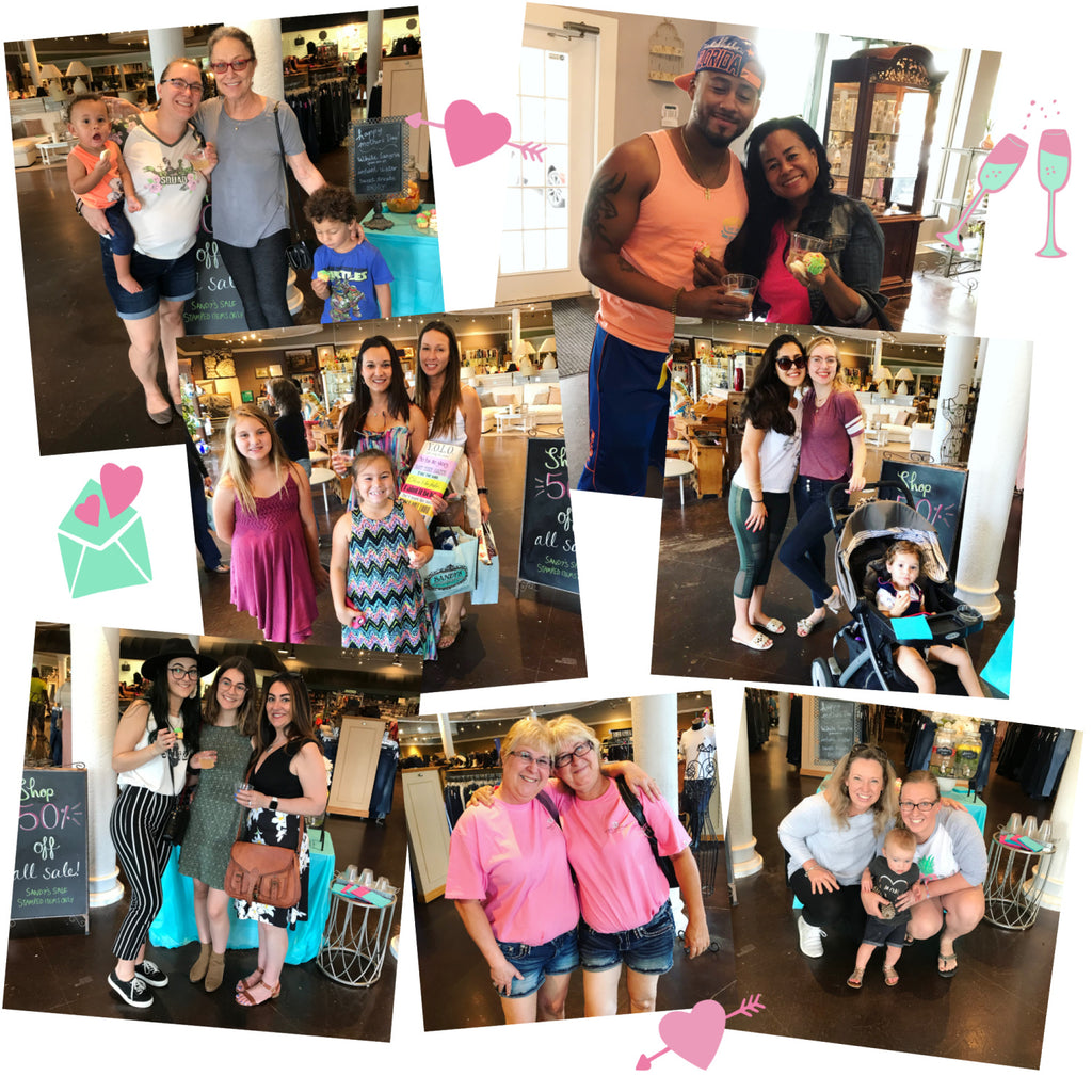 mother's day moms with their kids and family for sip n shop event