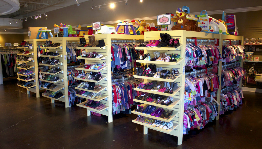 consignment store display childrens clothing toys kids shoes