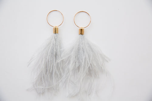 Ostrich Feather Hoops in grey
