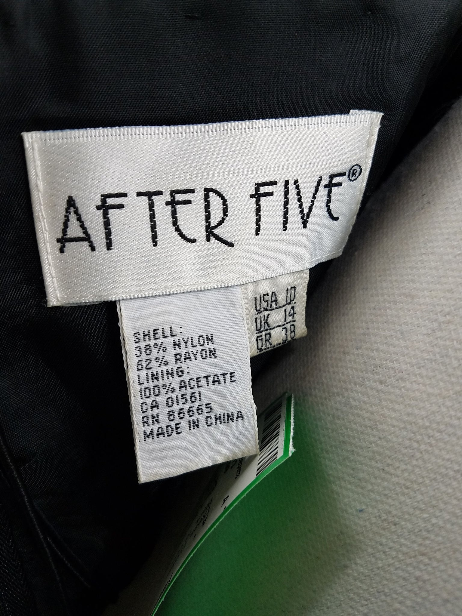 Women's After Five Black Cocktail Dress Brand Label