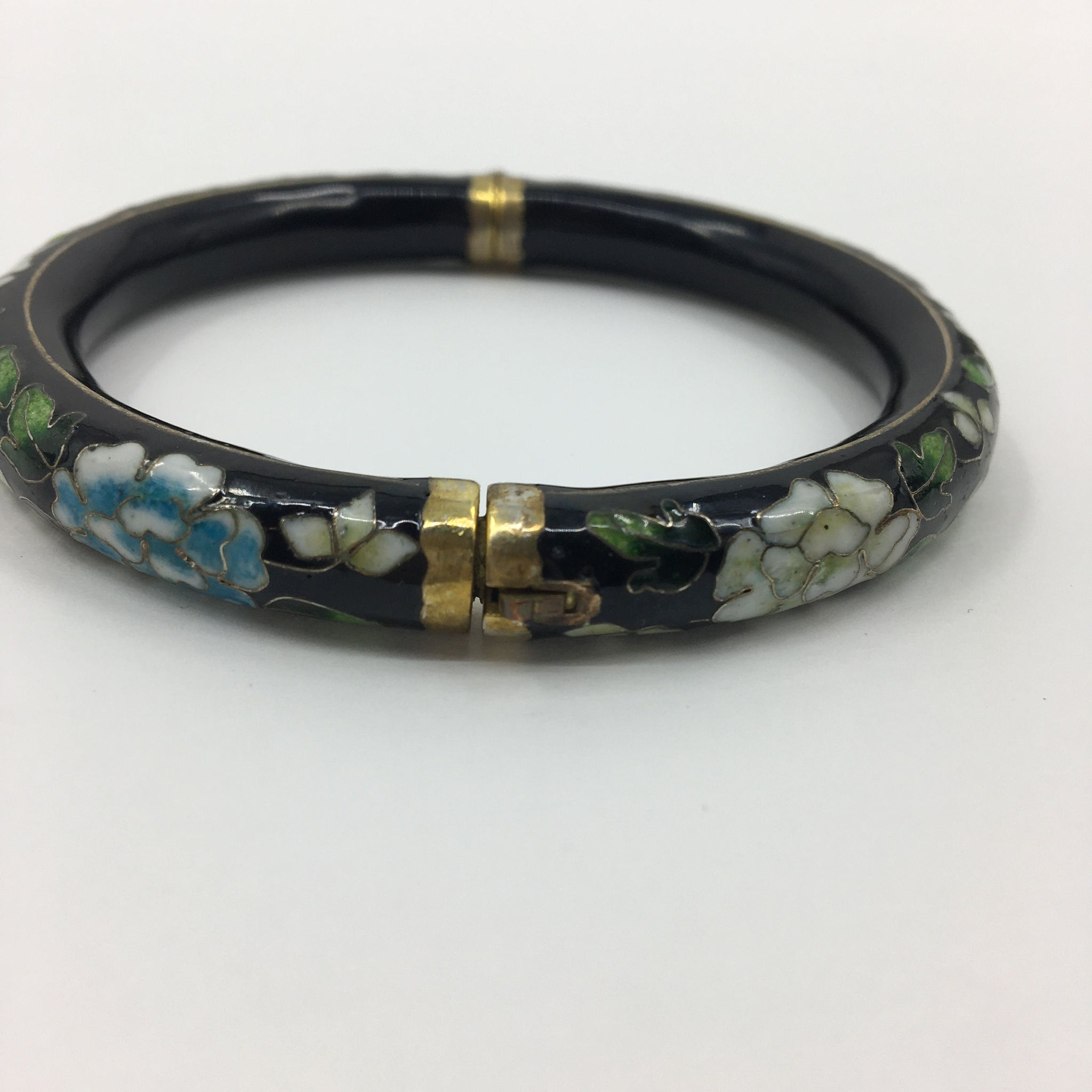 Black Bracelet with Floral Design