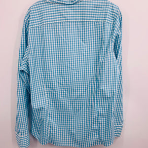 Lands End Aqua & White Shirt