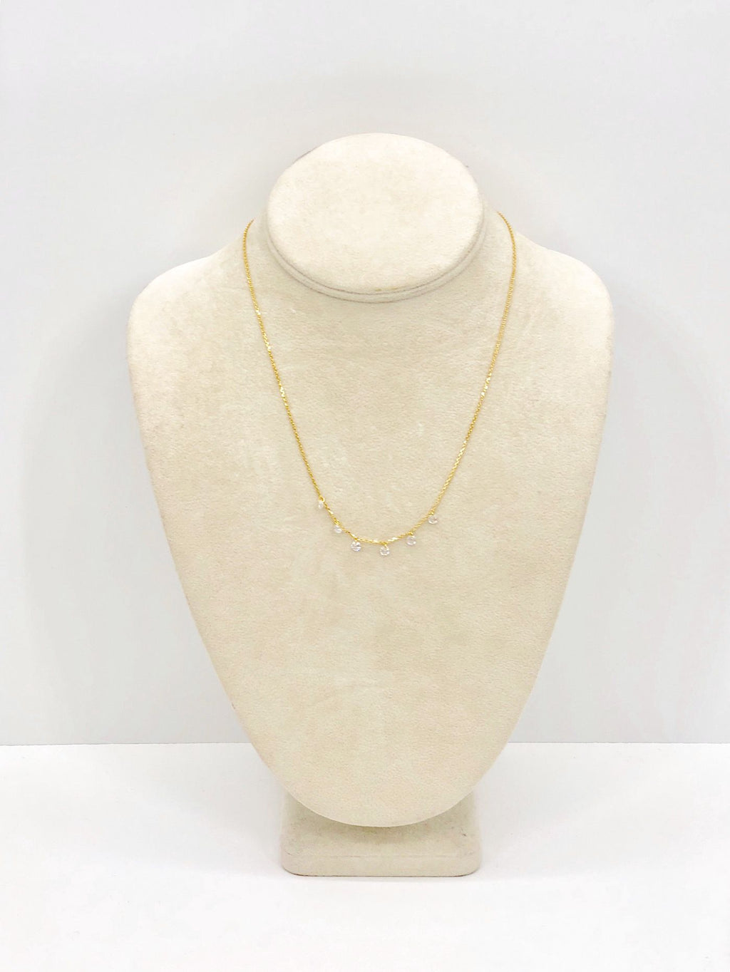 Sterling Silver Gold Tone Crystal Necklace