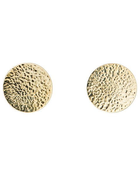 Brass Large Hammered Circle Earrings