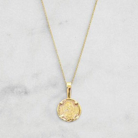 Small Round Peso Pendant Necklace