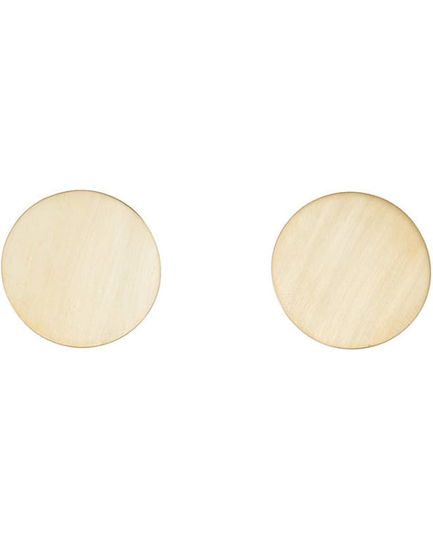 Brass Large Circle Stud Earrings