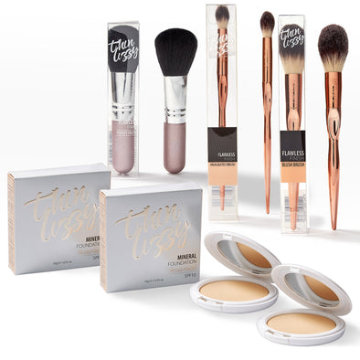 Pressed Mineral Foundation - Buy One Get One Free + Free Flawless Finish Brushes. Total Value $149.95, Now Only $39.99!