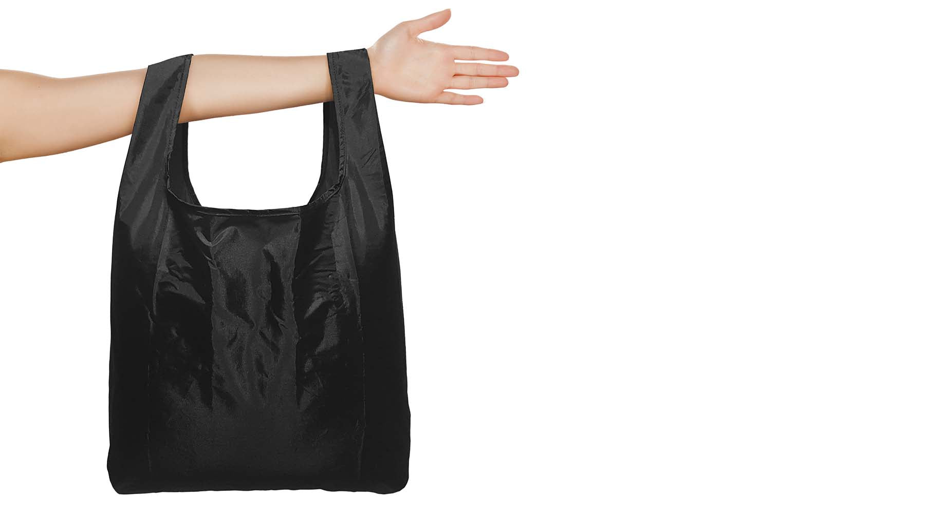 Black re-usable eco shopping bag by Pikkii Design