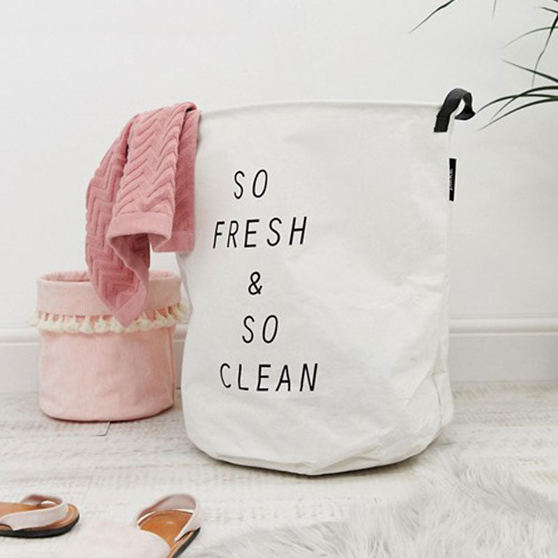 Pikki So Fresh & So Clean Canvass Laundry Basket on White Background