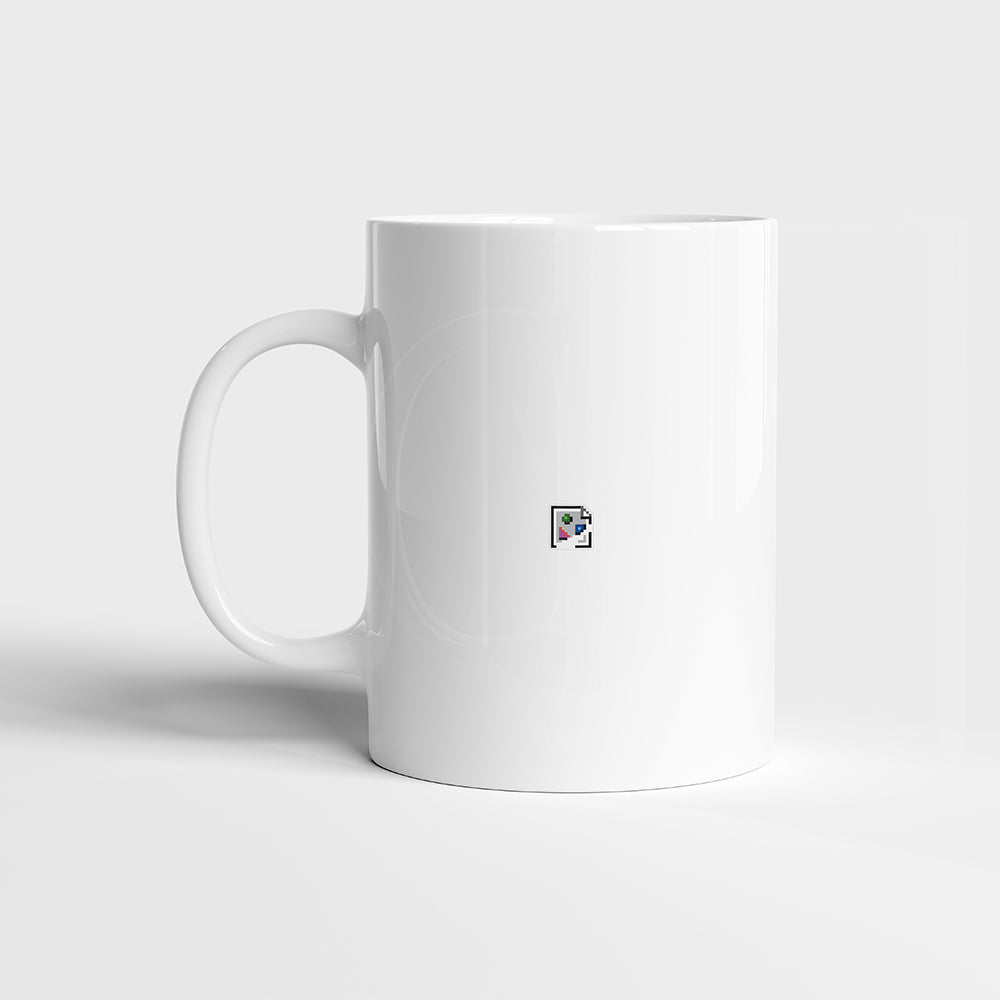 Broken image mug on white